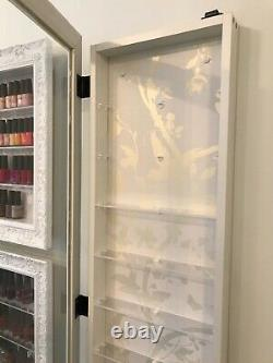 10 Tier Lockable Nail Polish Wall Mounted Display in White FRAME WHITE/GOLD