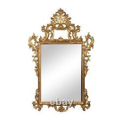 19th Century Italian Rococo Large Giltwood Wall Mirror