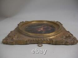1of2 FRENCH PASTORAL SCENE Gold Gilt Wall Plaque Frame Victorian Grand Tour Styl