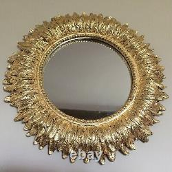 24k Gold Leaf Hand Gilded Antique Effect Ornate Feather Wall Mirror