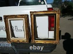2 Vintage Gold Gilt Ornate Carved Wood Picture Frames Wall Decor Baroque Style