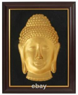 3D Golden Buddha Face Concave Wall Hanging 19 X 15 With Frame Made In Vietnam