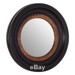 40cm Dia Glenda Black/gold Frame Wall Mirror Wood Black Gold Round Shabby