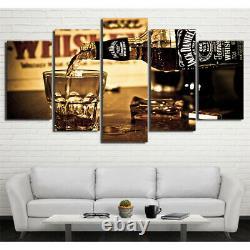 5 pcs HD Modern Art Whiskey Bottle Bar Poster Wall Home Decor Canvas Print