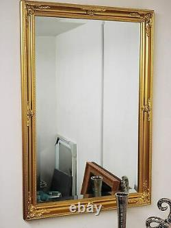60X90cm Large Wooden Frame Ornate Wall Mirror Available in Gold Home