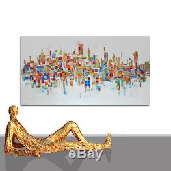 ABSTRACT PAINTING WHITE #LARGE INTERIOR DESIGN GOLD XXL WALL ART DECOR 55 x 27