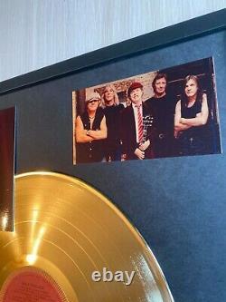 AC/DC Back In Black 1980 Custom 24k Gold Vinyl Record In Wall Hanging Frame