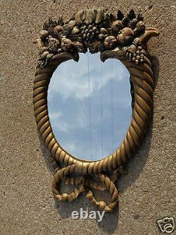 ANTIQUE 19thC CARVED HORN of PLENTY FRUIT ITALIAN WOOD FRAME WALL MIRROR as is