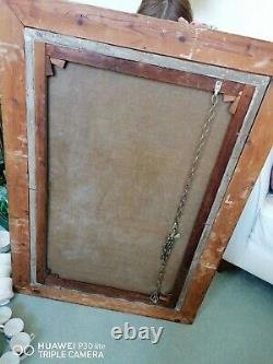 ANTIQUE GOLD FRAMED BEVELLED FRENCH WALL MIRROR 32x26in, Original glass