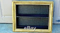 ANTIQUE ITALIAN GILT FRAME SHADOW BOX WALL HANGING With 2 BLACK LEATHER SHELVES