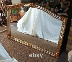 A Beautiful Large Vintage Gilt Framed Gold Ornate Wall Mirror Made In Belgium