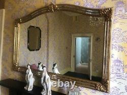 A Large Vintage Gilt Framed Gold Ornate Overmantel Wall Mirror