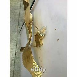 A Pair Gold Metal Frame Sputnik Wall Sconce Leave Ginkgo style Appliques lot 2