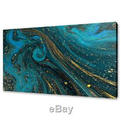 Abstract Blue Gold Paint Texture Modern Box Canvas Print Wall Art Picture