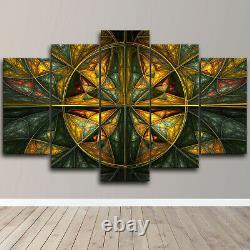 Abstract Fractal Gold Flower 5 Piece Canvas Wall Art Print Home Decor