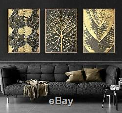Abstract Golden Leaves Art 3 Pcs Canvas Printed Wall Picture Poster Home Decor