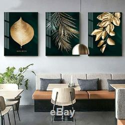 Abstract Golden Plant Leaves Canvas Wall Art Print Painting 3 Piece Set Posters