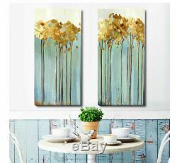 Abstract Golden Tree Flower Stretched Canvas Print Framed Wall Home Office Decor