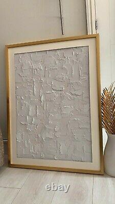 Abstract Textured Canvas Wall Art Painting Large Modern Gold White Beige