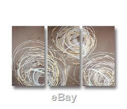 Abstract art canvas painting Wall art Hand painted framed. Brown gold