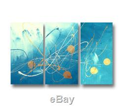 Abstract art canvas painting Wall art Hand painted framed. Turquoise gold