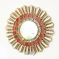 Accent Sunburst Mirror set of 4, Peruvian Handpainted on glass Round Wall Mirror