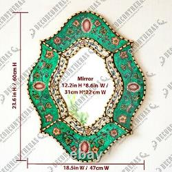 Accent wall Oval Mirror with bronze leaf frame, Peru Handpainted Glass Mirrors