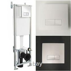 Adjustable Wall Hung Pan Frame & Concealed Cistern and Dual Flush Black Chrome