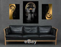 African Black Woman Model Gold Makeup Canvas Set Print Portrait Modern Wall Art