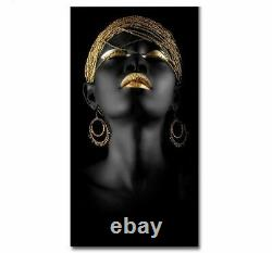 African Wall Art Picture Black And Gold Woman Oil Painting On Canvas Beauty