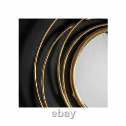 Allende Metal Frame Satin Gold Round Antique Style Wall Modern Mirror 70cm Dia