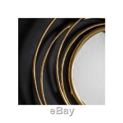 Allende Satin Gold Metal Frame Round Antique Style Wall Modern Mirror 70cm Dia