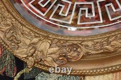An Antique Gold Framed Georgian Greek Key Design Bevelled Glass Wall Mirror
