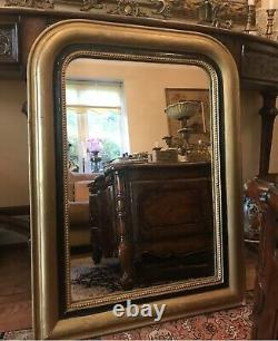 Antique 19th century Luis philippe Ebonised and Gilded Wall Mirror