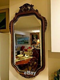 Antique Art Deco Sculptured flower design, Gesso/ wood Frame Wall Hanging Mirror
