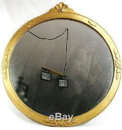 Antique Arts & Crafts Deco Gold Carved Wood Frame Shell Round Wall Mirror