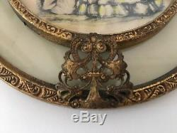 Antique Bronze Ormolu French Round Frame Plaque Wall Decor Portrait Miniature