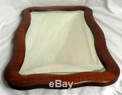 Antique Curly Maple Wood Framed Wall Mirror 16-7/8 x 25-3/4 Late 19th Century