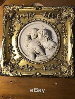 Antique E. W Wyon 1848 Marble Wall Plaque With Gilded Timber Frame GB