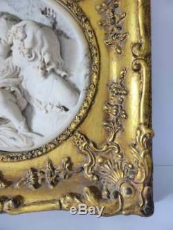 Antique E. W. Wyon Marble Wall Plaque in Gilded Timber & Gesso Frame, 1800's