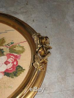 Antique Framed Gilded embroidered flower WALL wood century retro circa Pattern