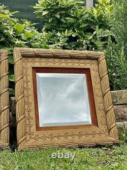 Antique Gilt Wood Deep Frame Wall Mirrors With Velvet Inserts Matching Pair