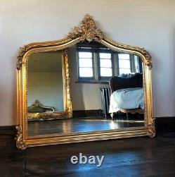 Antique Gold Gilt Statement French Over Mantle Arch Fireplace Wall Mirror 143cm