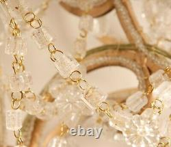 Antique Italian Crystal Macaroni Beaded Chandelier Wall Sconces Gold Frame