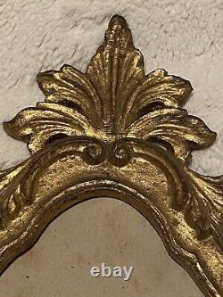 Antique Italian Florentine Rococo Gilt Wood Carved Wall Frame Pediment