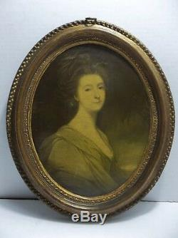 Antique Italian Florentine WOMAN PORTRAIT Gold Gilt Frame Wall Plaque 12.25
