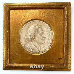 Antique Liszt Wagner Gold Gilt Wood Frames Plaque Wall Classical Music Composers