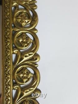 Antique Mirror Bronze Frame Crystal Europe Rare Wall Hanging Home Decor 17.5x9