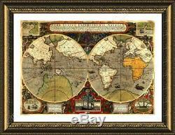 Antique Old Vintage V2 by World Map Framed canvas Wall art print artwork