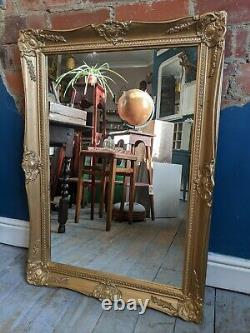 Antique Ornate Gold Wall Mantle Mirror Vintage Gilt Frame